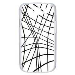 Black and white decorative lines Samsung Galaxy S III Case (White)