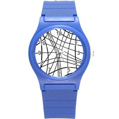 Black and white decorative lines Round Plastic Sport Watch (S)