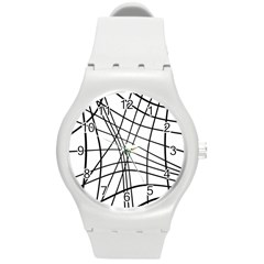 Black and white decorative lines Round Plastic Sport Watch (M)