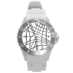 Black and white decorative lines Round Plastic Sport Watch (L)