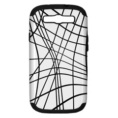 Black And White Decorative Lines Samsung Galaxy S Iii Hardshell Case (pc+silicone)