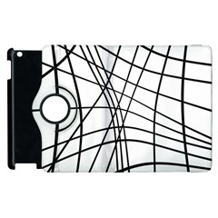 Black And White Decorative Lines Apple Ipad 3/4 Flip 360 Case