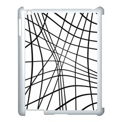 Black and white decorative lines Apple iPad 3/4 Case (White)