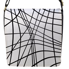 Black and white decorative lines Flap Messenger Bag (S)