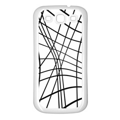 Black and white decorative lines Samsung Galaxy S3 Back Case (White)