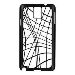 Black and white decorative lines Samsung Galaxy Note 3 N9005 Case (Black)