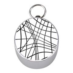 Black and white decorative lines Mini Silver Compasses