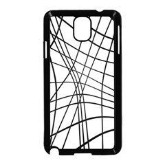 Black and white decorative lines Samsung Galaxy Note 3 Neo Hardshell Case (Black)