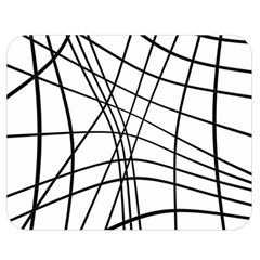 Black and white decorative lines Double Sided Flano Blanket (Medium)