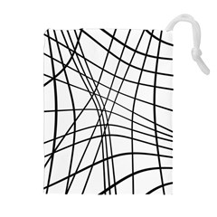 Black and white decorative lines Drawstring Pouches (Extra Large)