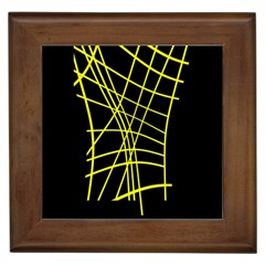 Yellow abstraction Framed Tiles