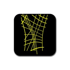 Yellow abstraction Rubber Square Coaster (4 pack)
