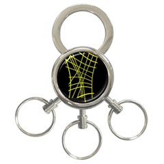 Yellow abstraction 3-Ring Key Chains