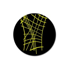Yellow abstraction Rubber Round Coaster (4 pack)