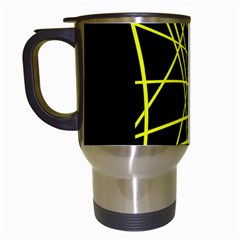 Yellow abstraction Travel Mugs (White)