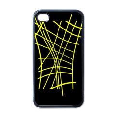 Yellow abstraction Apple iPhone 4 Case (Black)