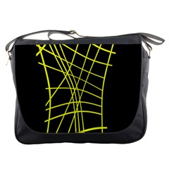 Yellow abstraction Messenger Bags