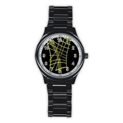 Yellow abstraction Stainless Steel Round Watch