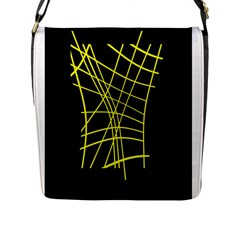 Yellow abstraction Flap Messenger Bag (L)