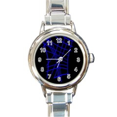 Neon blue abstraction Round Italian Charm Watch