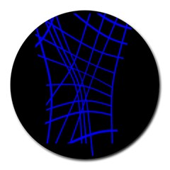 Neon blue abstraction Round Mousepads