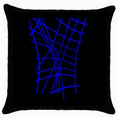 Neon blue abstraction Throw Pillow Case (Black)