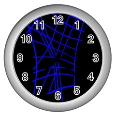 Neon blue abstraction Wall Clocks (Silver)
