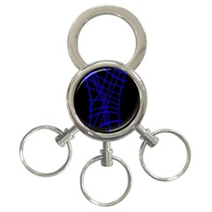 Neon blue abstraction 3-Ring Key Chains