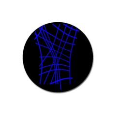 Neon blue abstraction Magnet 3  (Round)