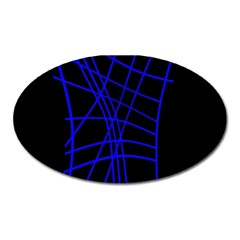 Neon blue abstraction Oval Magnet
