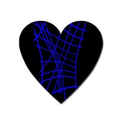 Neon blue abstraction Heart Magnet