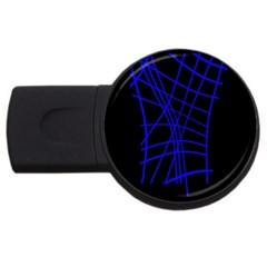 Neon blue abstraction USB Flash Drive Round (4 GB)