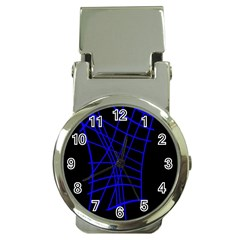 Neon blue abstraction Money Clip Watches