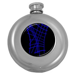 Neon blue abstraction Round Hip Flask (5 oz)