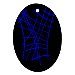 Neon blue abstraction Oval Ornament (Two Sides)