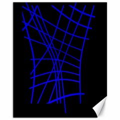 Neon blue abstraction Canvas 11  x 14