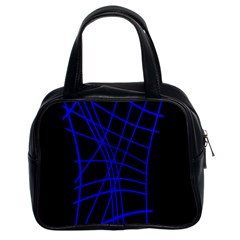 Neon blue abstraction Classic Handbags (2 Sides)