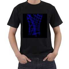 Neon blue abstraction Men s T-Shirt (Black)