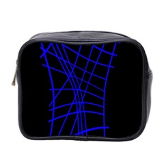 Neon blue abstraction Mini Toiletries Bag 2-Side