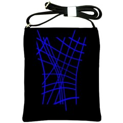 Neon blue abstraction Shoulder Sling Bags