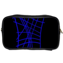 Neon blue abstraction Toiletries Bags