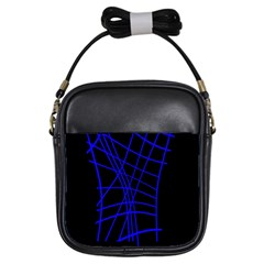 Neon blue abstraction Girls Sling Bags