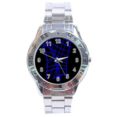 Neon blue abstraction Stainless Steel Analogue Watch