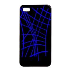 Neon blue abstraction Apple iPhone 4/4s Seamless Case (Black)