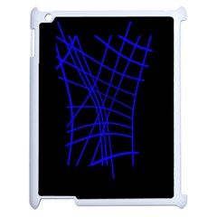 Neon blue abstraction Apple iPad 2 Case (White)