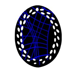 Neon blue abstraction Ornament (Oval Filigree)