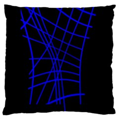 Neon blue abstraction Large Cushion Case (One Side)
