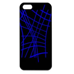 Neon blue abstraction Apple iPhone 5 Seamless Case (Black)