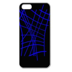 Neon blue abstraction Apple Seamless iPhone 5 Case (Clear)