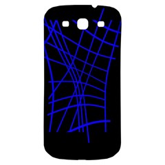 Neon blue abstraction Samsung Galaxy S3 S III Classic Hardshell Back Case